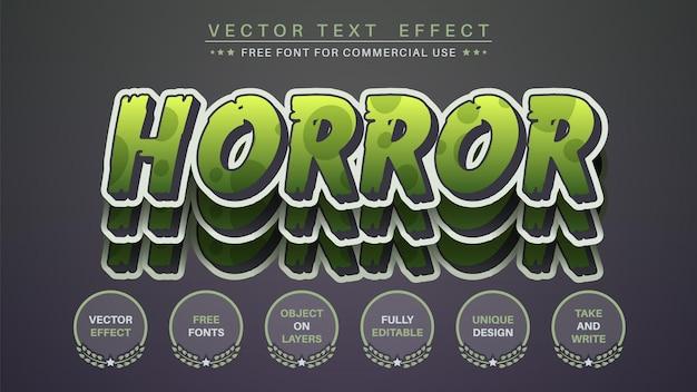 Autocolante de terror para editar o estilo da fonte editável do efeito do texto