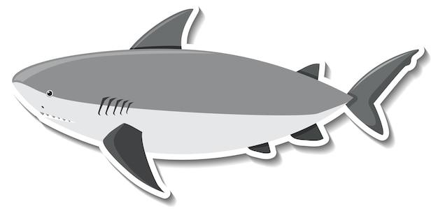 Autocolante de tubarão em desenho animado de animal marinho