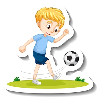 Autocolante de um rapaz a jogar futebol com uma personagem de desenho animado
