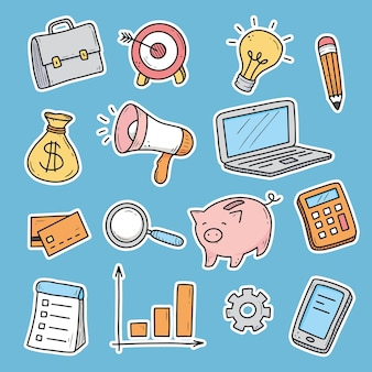 Autocolante desenhado à mão com elementos de negócios e finanças