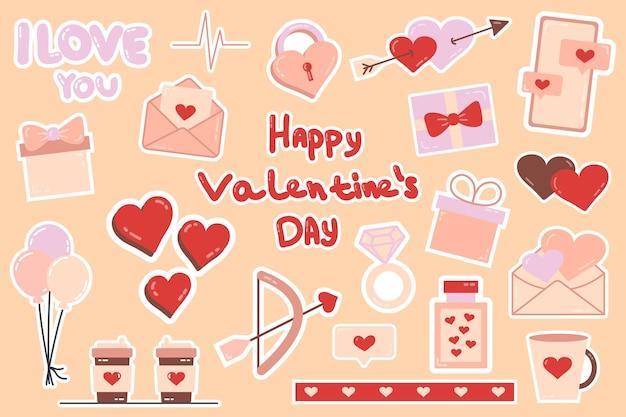Autocolante lindos adesivos de amor. objetos românticos para planejador e organizador. planador semanal. para mídia social, web design, mensagens móveis, mídia social, comunicação online, cartões postais e impressão.