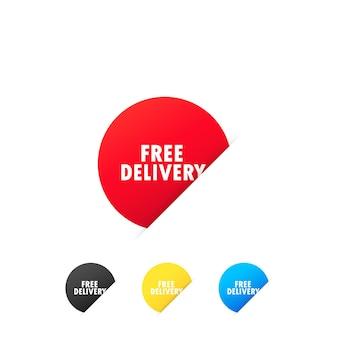 Autocolantes com entrega gratuita. serviço de entrega expressa. vetor em fundo branco isolado. eps 10.