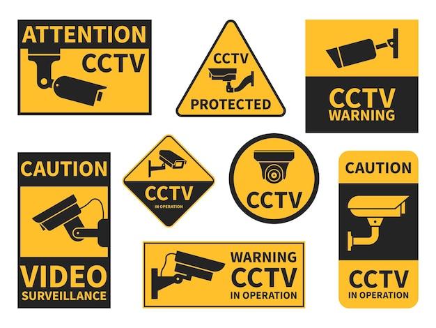 Autocolantes de cctv. vários equipamentos de câmera de segurança, vigilância por vídeo para ruas, casas e edifícios, sinais de alerta de propriedade privada conjunto de vetores de cctv