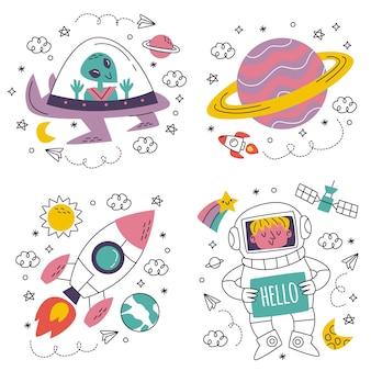 Autocolantes de ficção científica desenhados à mão