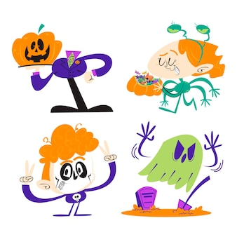 Autocolantes de halloween em desenho retro