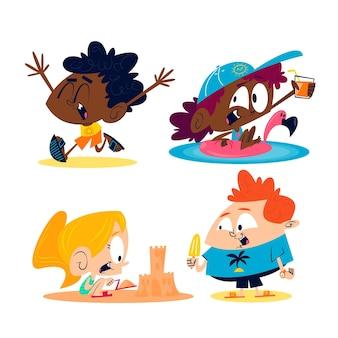 Autocolantes de verão retro dos desenhos animados