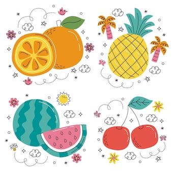 Autocolantes desenhados à mão com frutas e vegetais
