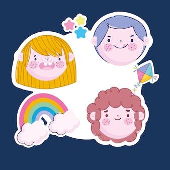 Autocolantes engraçados com a cara de crianças asas de arco-íris e desenhos animados de estrelas, ilustração de crianças