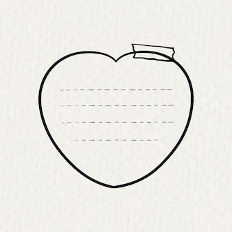 Autocolantes goodnotes vetoriais em forma de coração, elemento de notas adesivas desenhado à mão na textura do papel