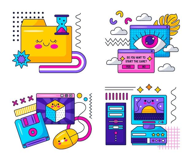 Autocolantes kawaii retro da internet e do computador