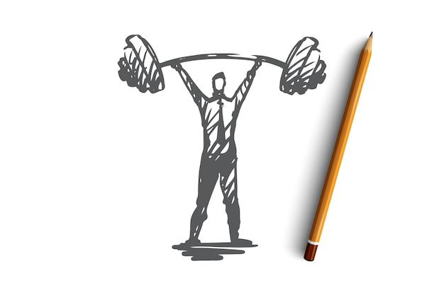 Autoconfiança, sucesso, chefe, força, conceito de carreira. mão desenhada força homem com esboço do conceito de barra pesada.