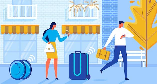 Automação de entrega de bagagem de ilustração plana.