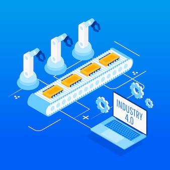 Automação de fábrica isométrica, indústria 4.0