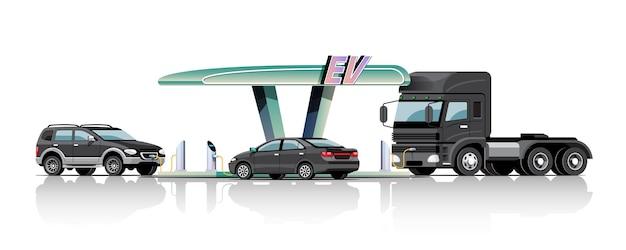 Automóveis e caminhões na estação de energia