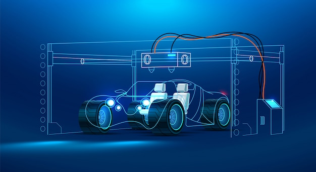 Automóveis em uma grande impressora 3d industrial. carro futuro conceito