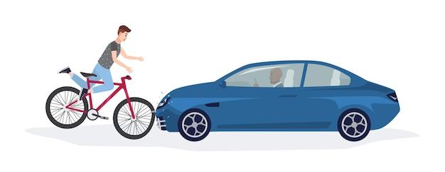 Automóvel derrubando menino andando de bicicleta. colisão frontal com ciclista envolvido