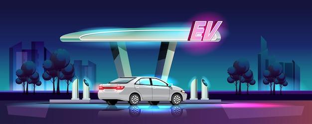 Automóvel elétrico em estilo moderno está carregando na estação de energia da garagem