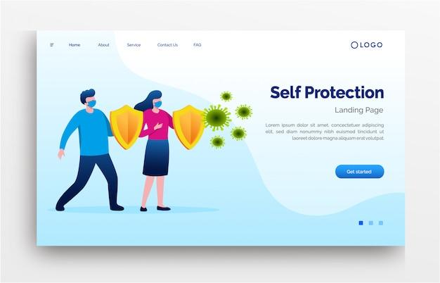 Autoproteção página de destino site ilustração plana modelo