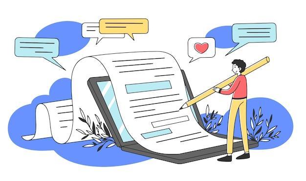 Autor de conteúdo escrevendo ilustração de artigo criativo