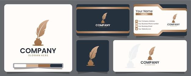 Autor de luxo, design de logotipo e cartão de visita