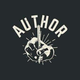 Autor do design da camiseta com a mão escrevendo e ilustração vintage com fundo cinza