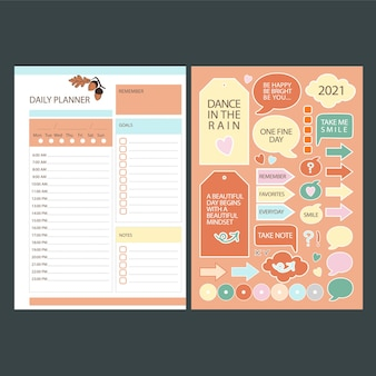 Autumn daily planner stickers