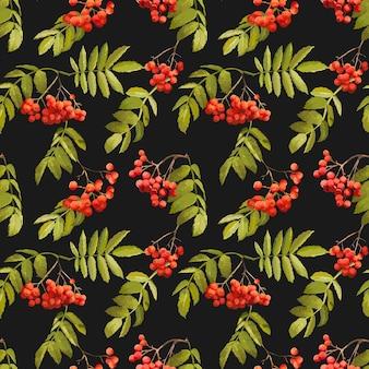 Autumn rowan berry background vintage seamless pattern