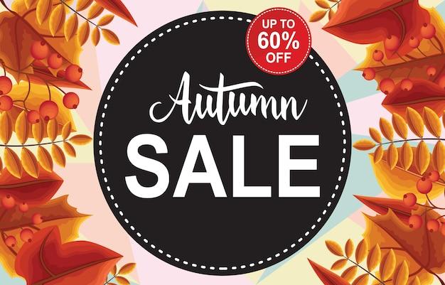 Autumn sale fall leaves banner de etiqueta de cartão de promoção de compras