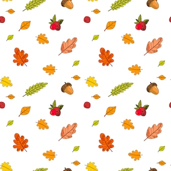 Autumn seamless pattern colorful leaves ornamento temporada de outono