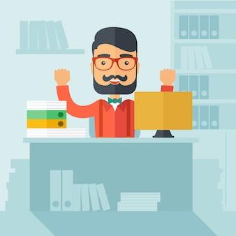 Auxiliar de escritório bem sucedido.