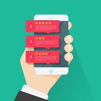 Avaliação de avaliações ou mensagens de depoimentos de feedback no smartphone
