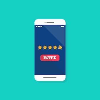 Avaliação de cinco estrelas no smartphone.