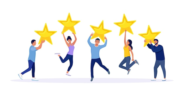 Avaliação de cinco estrelas. pessoas felizes e saltitantes estão segurando estrelas de revisão sobre suas cabeças. avaliação da avaliação do cliente, feedback do cliente, nível de satisfação