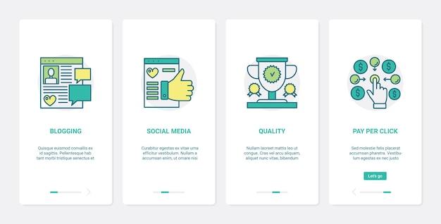 Avaliação de comércio online em conjunto de telas de página de aplicativo móvel de integração de ui de mídia social