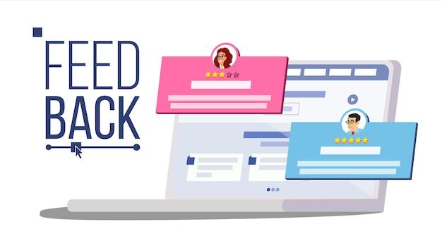 Avaliação de feedback do cliente no laptop