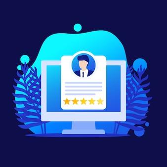 Avaliação de funcionário, ícone de software de rh e gerenciamento