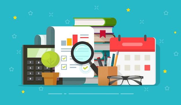 Avaliação de relatório de pesquisa de auditoria analisando no cartoon plana de ilustração desktop