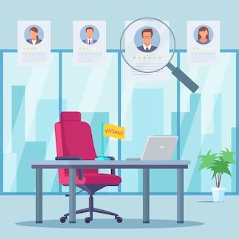 Avaliação de trabalhadores de escritório plana