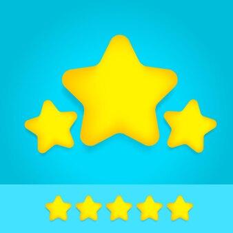 Avaliação de três estrelas de desenho animado dourado