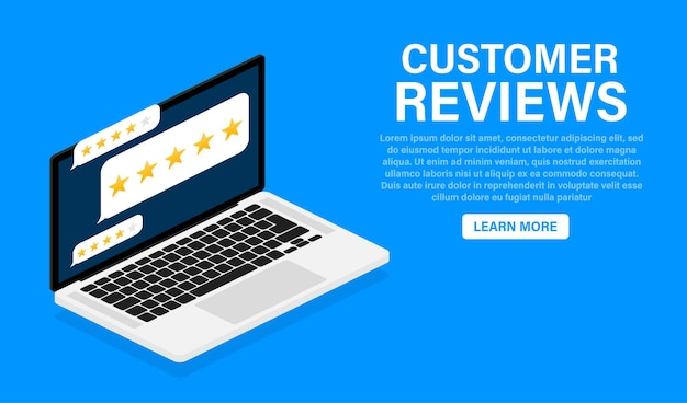 Avaliação do cliente com ícone de estrela dourada na tela do laptop