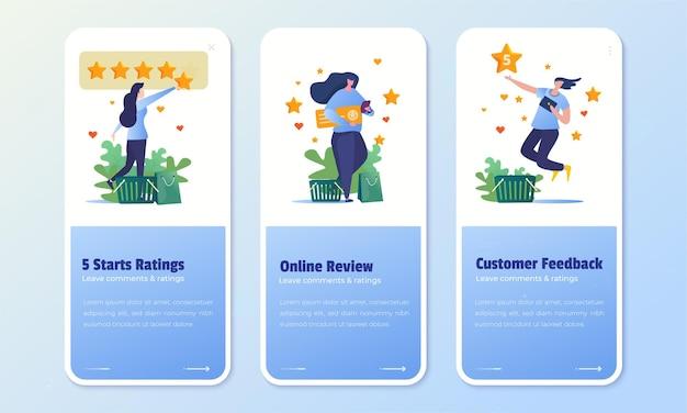 Avaliação do cliente e avaliação de feedback de 5 estrelas no conjunto de tela a bordo