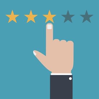 Avaliação do cliente e conceito de feedback sistema de classificação da qualidade do serviço