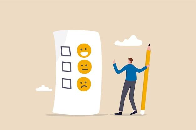 Avaliação do cliente, feedback do conceito do consumidor.