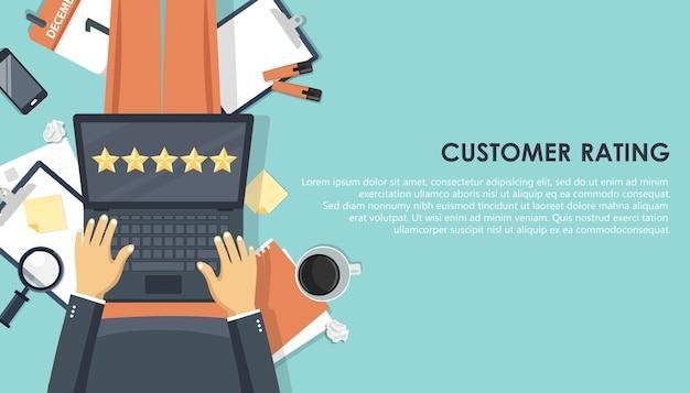 Avaliação do cliente no laptop