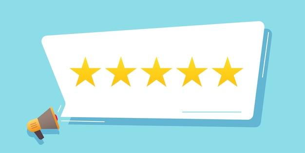 Avaliação do conceito de feedback, estrelas de avaliação na bolha depoimento de cliente experiência plana cartoon ilustração reputação ideia imagem