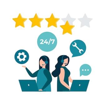 Avaliação do feedback do cliente, consulta ao cliente, linha direta de suporte técnico, call center