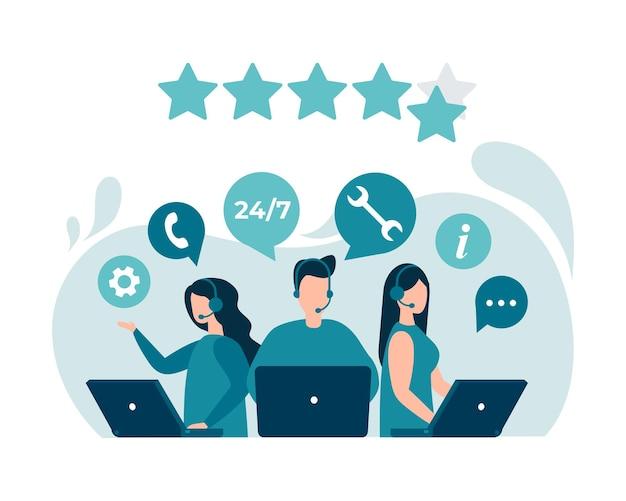 Avaliação do feedback do cliente, consulta ao cliente, linha direta de suporte técnico