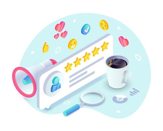 Avaliação do serviço ao cliente, conceito isométrico de feedback do produto