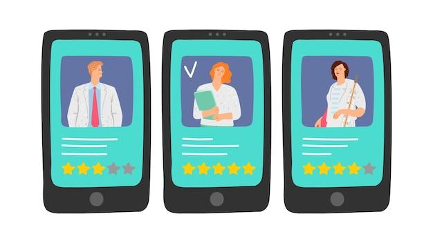 Avaliação dos médicos. escolha o seu médico online. avaliações da equipe médica, ilustração de classificação de cinco estrelas