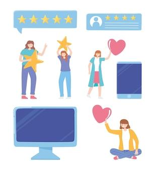 Avaliação e feedback de pessoas computador smartphone ilustração de aplicativo de rede de mídia social